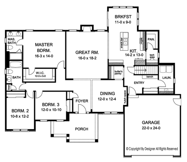 Ranch Floor Plan - Main Floor Plan Plan #1010-151
