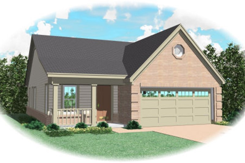 Traditional Style House Plan - 3 Beds 2 Baths 1254 Sq/Ft Plan #81-13634 Exterior - Front Elevation