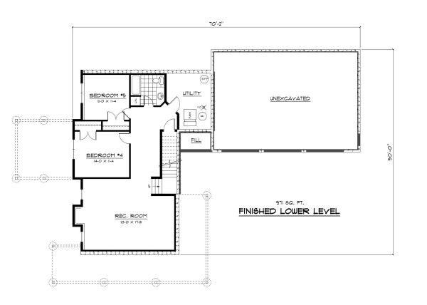 Farmhouse Floor Plan - Lower Floor Plan Plan #51-300
