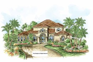 House Design - Mediterranean Exterior - Front Elevation Plan #1017-150