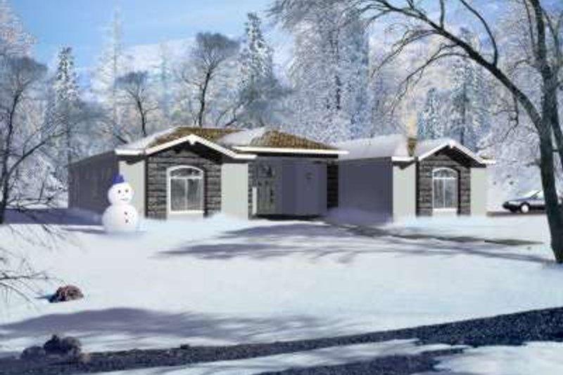 House Blueprint - Adobe / Southwestern Exterior - Front Elevation Plan #1-837