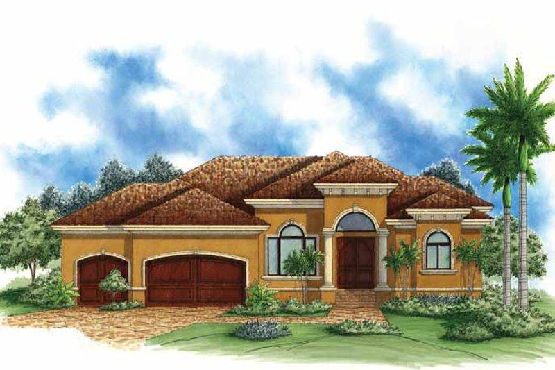 Dream House Plan - Mediterranean Exterior - Front Elevation Plan #1017-115
