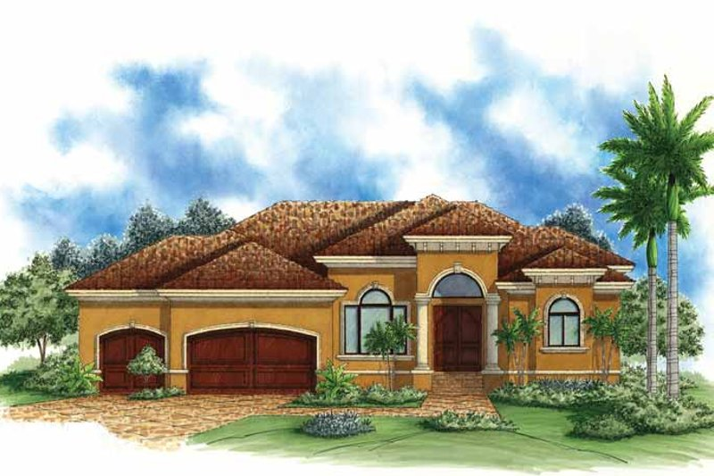 Architectural House Design - Mediterranean Exterior - Front Elevation Plan #1017-115