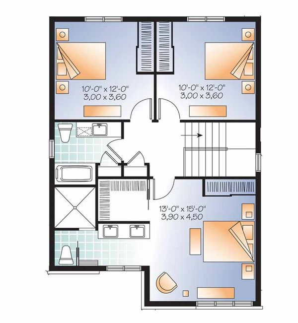 Contemporary Floor Plan - Upper Floor Plan Plan #23-2480