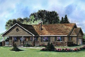 Ranch Exterior - Front Elevation Plan #18-9546