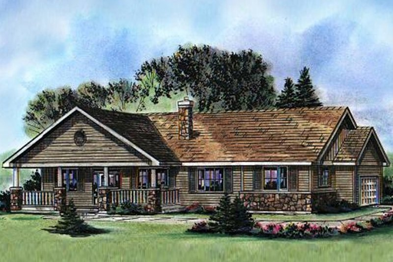 House Blueprint - Ranch Exterior - Front Elevation Plan #18-9546
