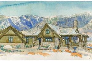Adobe / Southwestern Exterior - Front Elevation Plan #928-182