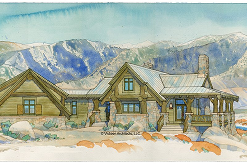 Adobe / Southwestern Exterior - Front Elevation Plan #928-182