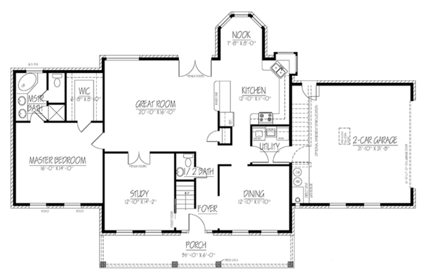Colonial Floor Plan - Main Floor Plan Plan #1061-2