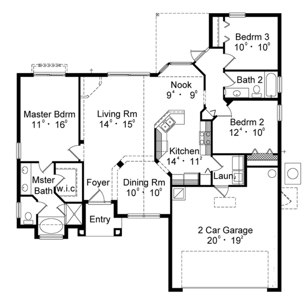 Mediterranean Floor Plan - Main Floor Plan Plan #417-836