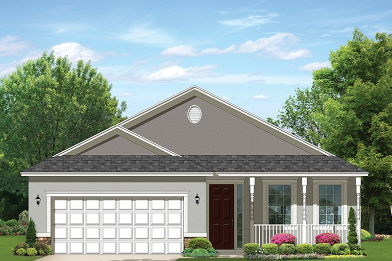 Ranch Style House Plan - 2 Beds 2 Baths 1400 Sq/Ft Plan #1058-104 Exterior - Front Elevation