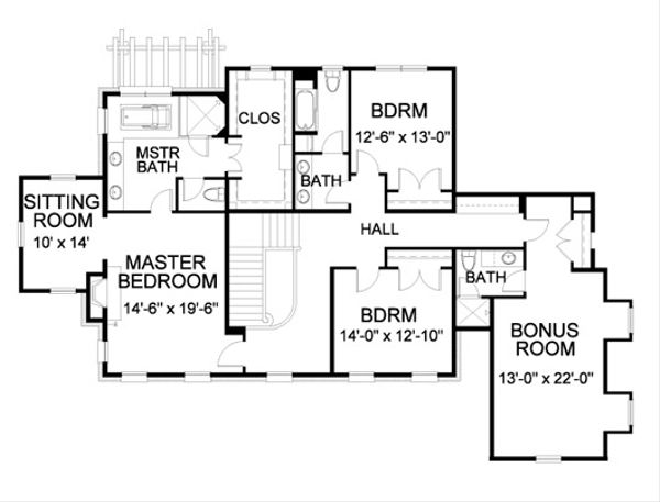 Traditional Floor Plan - Upper Floor Plan Plan #490-15