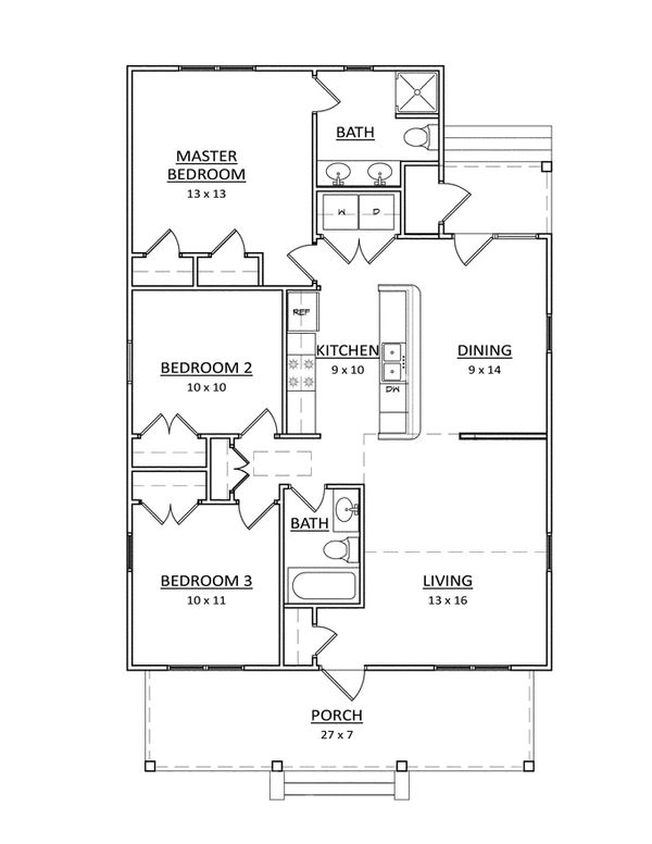 Craftsman Floor Plan - Main Floor Plan #936-17