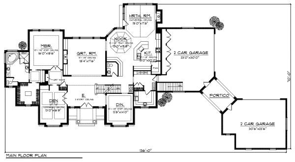 European Floor Plan - Main Floor Plan Plan #70-887