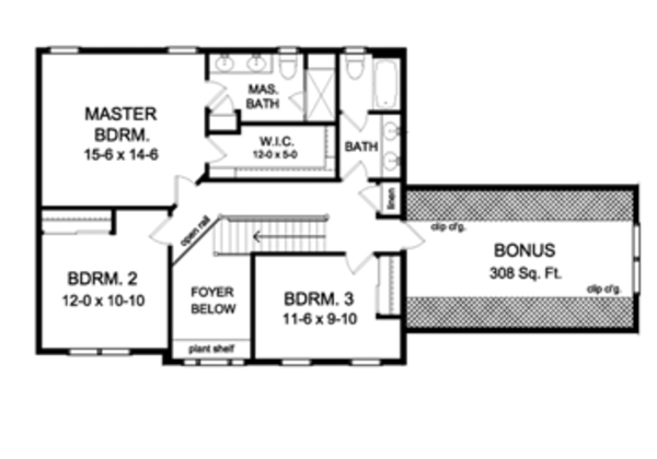 Colonial Floor Plan - Upper Floor Plan Plan #1010-48