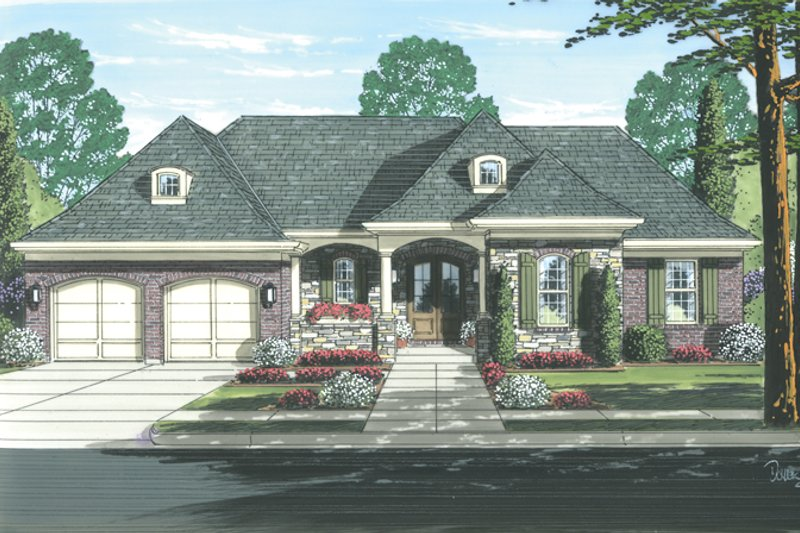 Country Exterior - Front Elevation Plan #46-820