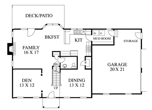 House Design - Colonial Floor Plan - Main Floor Plan #1053-18
