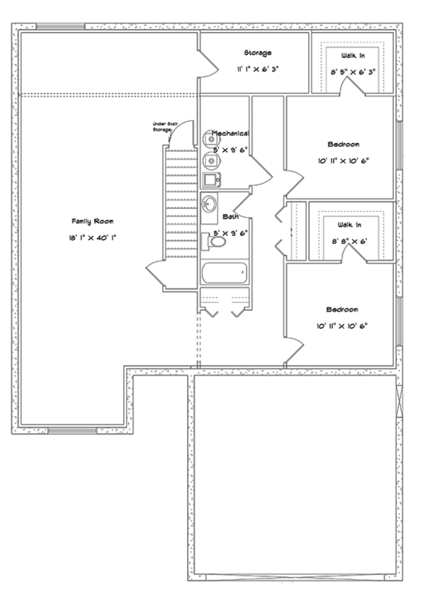Ranch Floor Plan - Lower Floor Plan Plan #1060-9