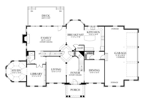 Classical Floor Plan - Main Floor Plan Plan #1029-64