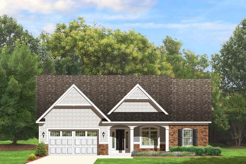 Ranch Exterior - Front Elevation Plan #1010-72