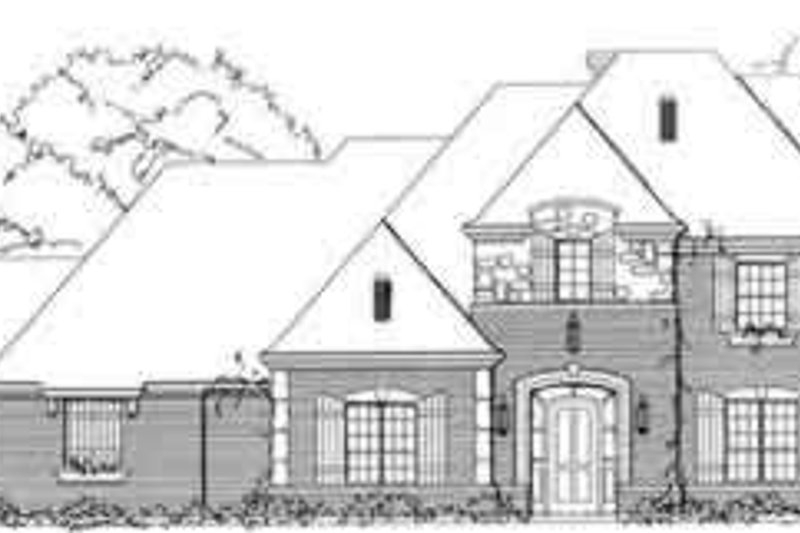 European Style House Plan - 4 Beds 4.5 Baths 4222 Sq/Ft Plan #141-113 Exterior - Front Elevation