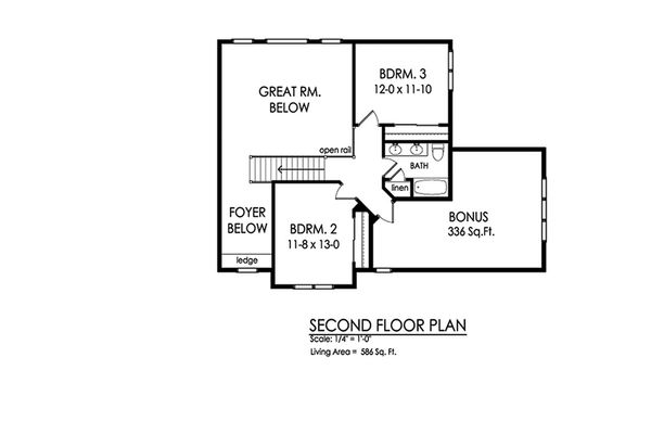 Traditional Floor Plan - Upper Floor Plan Plan #1010-223