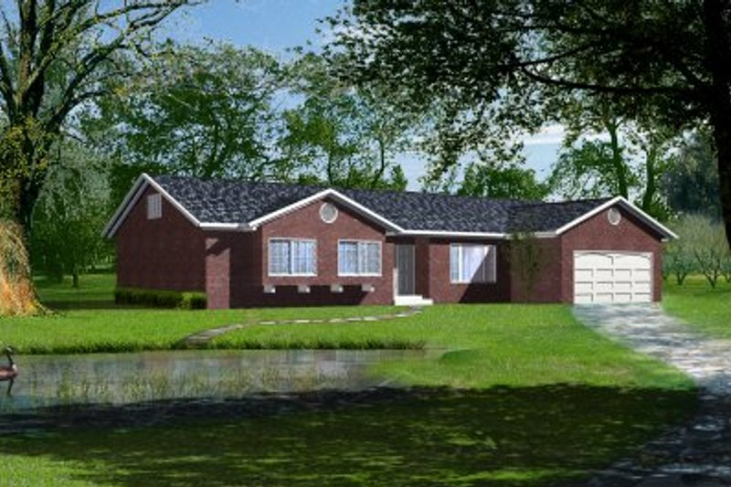 Ranch Style House Plan - 3 Beds 2 Baths 1699 Sq/Ft Plan #1-345 Exterior - Front Elevation