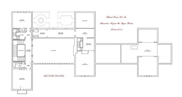 Second level floor plan - 16000 square foot Mediterranean Home