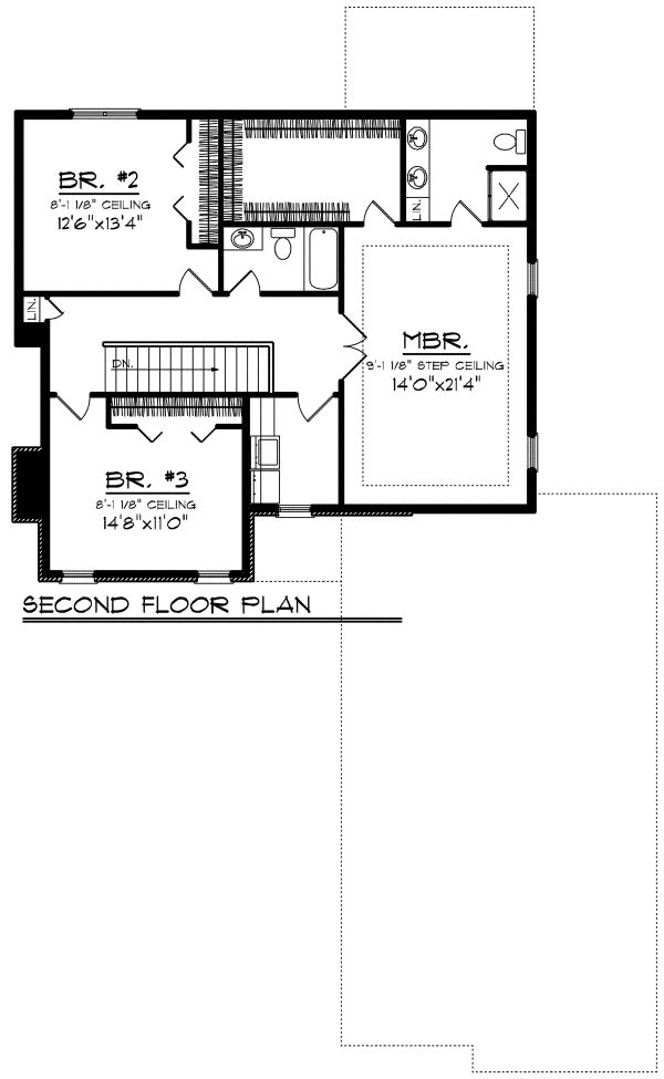 European Floor Plan - Upper Floor Plan Plan #70-1174