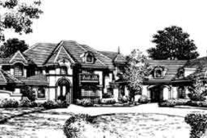 European Exterior - Front Elevation Plan #135-105