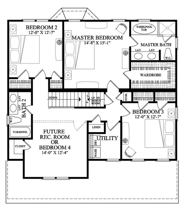 Cottage Floor Plan - Upper Floor Plan Plan #137-268