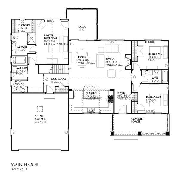 Craftsman Floor Plan - Main Floor Plan Plan #901-45