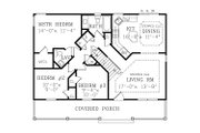 Country Style House Plan - 3 Beds 2 Baths 1040 Sq/Ft Plan #456-31 Floor Plan - Main Floor Plan