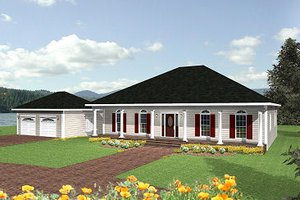 Southern Exterior - Front Elevation Plan #44-140
