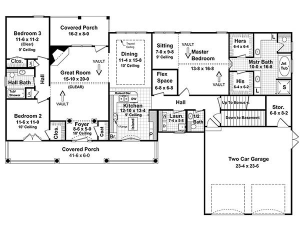 Southern Floor Plan - Main Floor Plan Plan #21-230