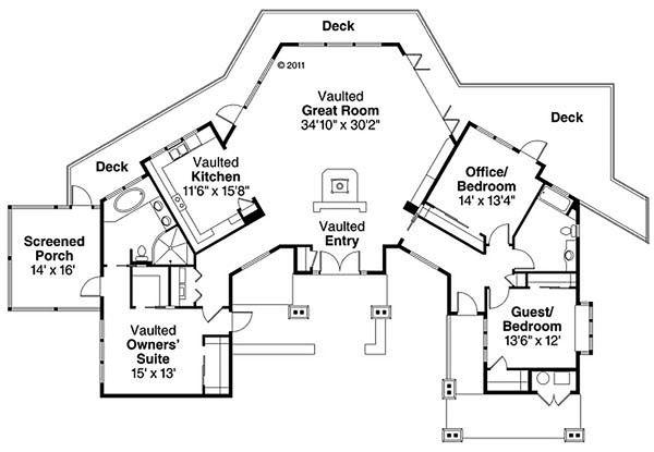 Craftsman Floor Plan - Main Floor Plan Plan #124-861
