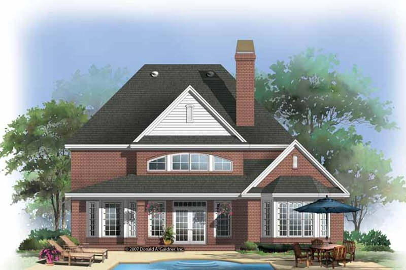 Traditional Exterior - Rear Elevation Plan #929-840 - Houseplans.com