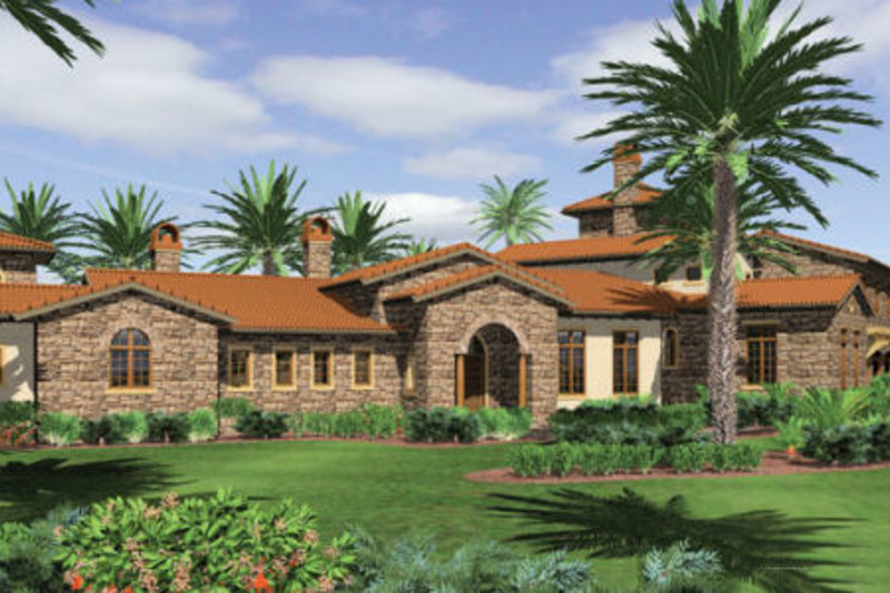 Mediterranean Exterior - Front Elevation Plan #48-361