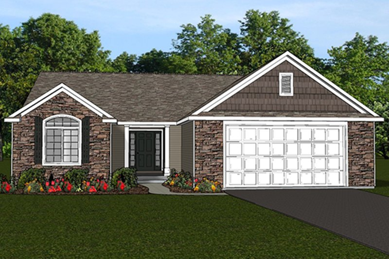 Ranch Exterior - Front Elevation Plan #1064-4 - Houseplans.com