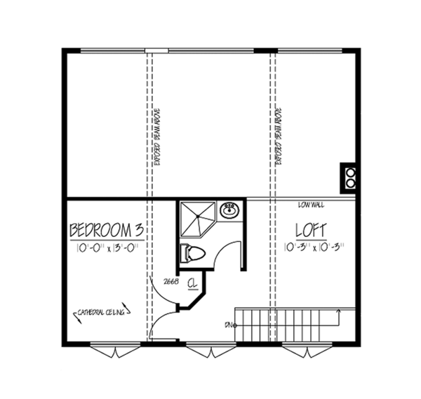 Contemporary Floor Plan - Upper Floor Plan Plan #1061-8