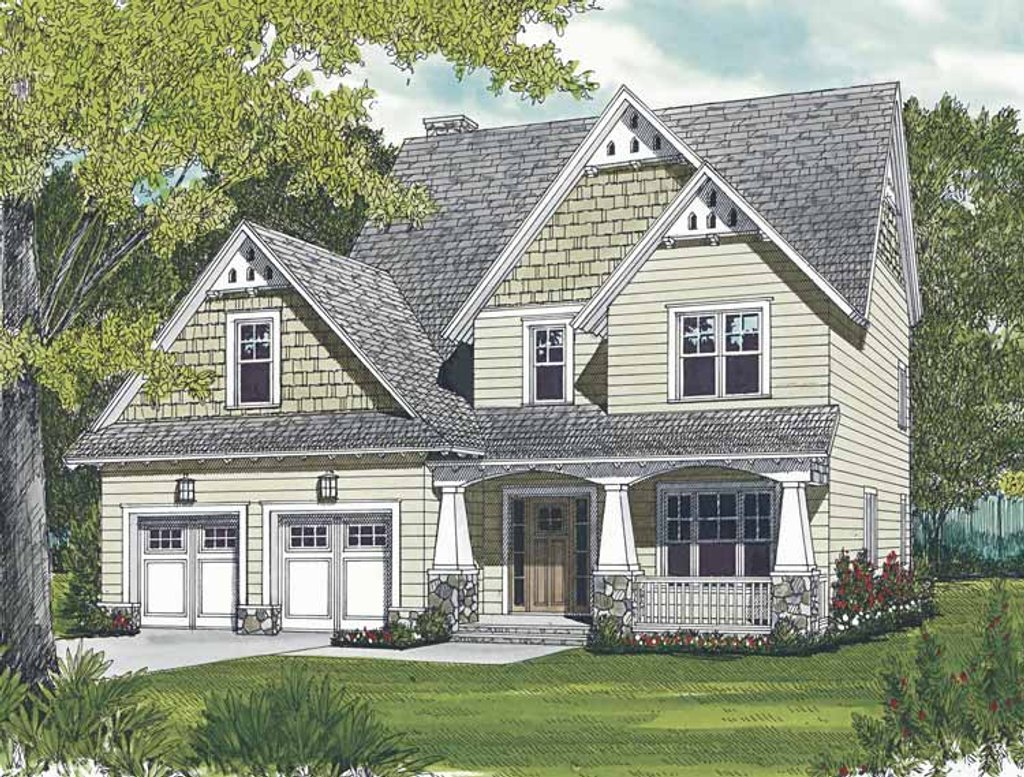 Craftsman style house plan 3 beds 2 5 baths 1997 sq ft for Craftsman vs mission style