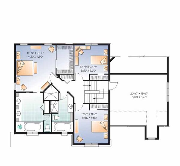 Country Floor Plan - Upper Floor Plan Plan #23-2556