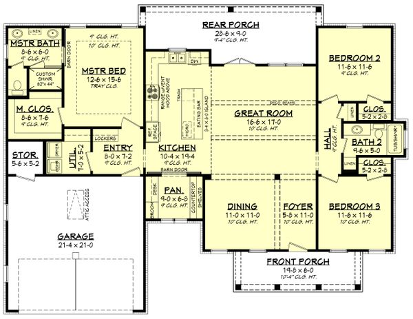 Architectural House Design - Farmhouse Floor Plan - Main Floor Plan #430-221