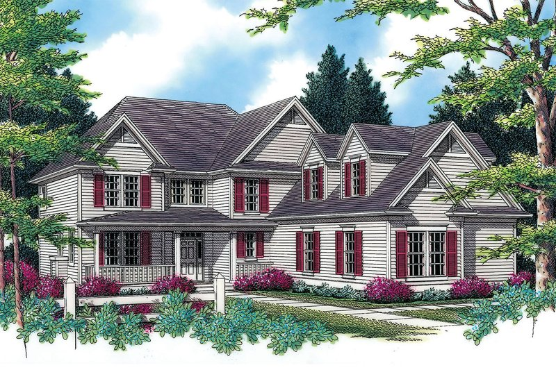 Country Exterior - Front Elevation Plan #48-331