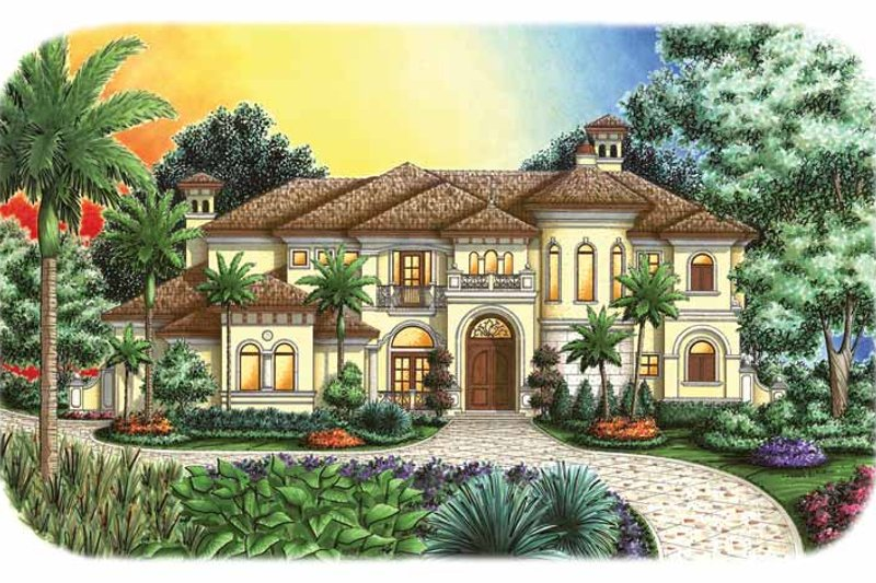 Mediterranean Exterior - Front Elevation Plan #1017-108