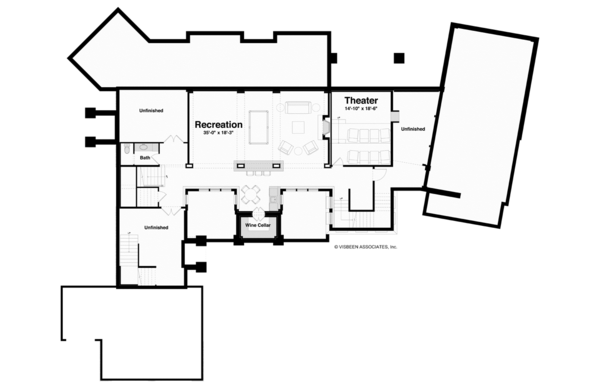 Architectural House Design - Traditional Floor Plan - Lower Floor Plan #928-247