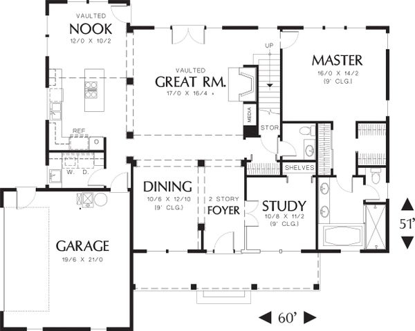 House Plan Design - Main level floor plan - 2500 square foot country home