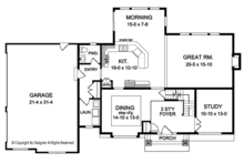 Colonial Floor Plan - Main Floor Plan Plan #1010-165