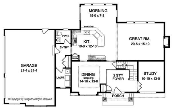 Colonial Floor Plan - Main Floor Plan Plan #1010-165