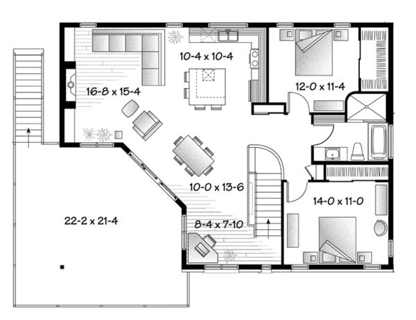 Contemporary Floor Plan - Upper Floor Plan Plan #23-2599